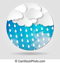 clouds with rain drops on the Abstract blue geometric circular s