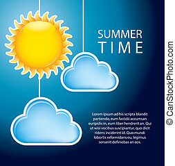 clouds with sun over sky background, summer time. vector illustration