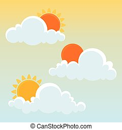 Clouds with Sun. Vector illustration.