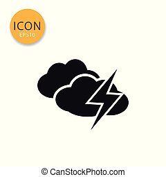 Clouds with thunder icon isolated flat style.