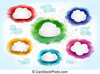 Clouds with watercolor splatters