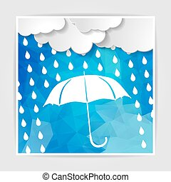 clouds with white umbrella and rain drops on the Blue Polygonal