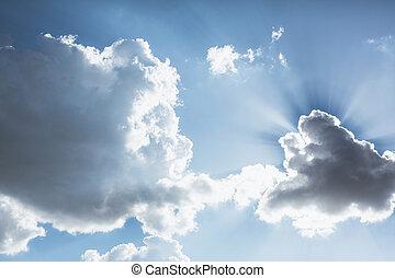 cloudscape, 太陽, によって, 照ること