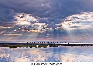 cloudscape, 日没, 海