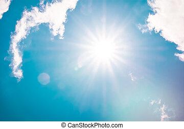 cloudscape, 風格, 云霧, 性質顏色, 太陽, 日光, 天空, retro, 背景, 閃光, 白色, 絨毛狀
