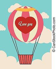 cloudscape, airballoon, felett, ábra, backgroundvector,...