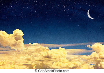 Cloudscape and Moon