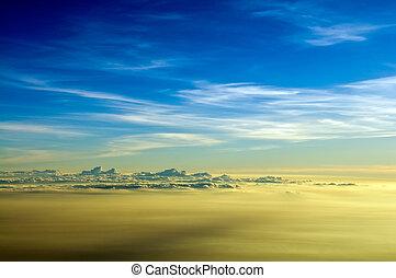 cloudscape, avion, aube, vue