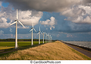 cloudscape, avond, leest, zomer, windturbines, zonlicht, hollandse