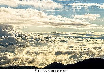 cloudscape, bergen, hoogte, hoog, andes, ondergaande zon