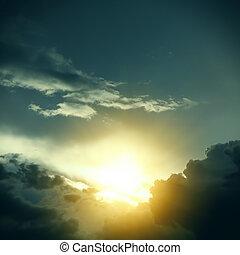 cloudscape, dramático, luz solar