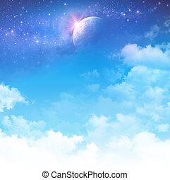 Cloudy sky background, star field and planet in deep space.