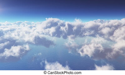 Flying OnThrough Clouds at daytime extreme high deatailed 3D render, Seamless Loop..