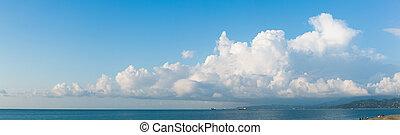 cloudscape, horizontal, bandera
