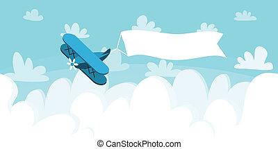 cloudscape, noha, repülőgép, és, placard., vektor, ábra,...