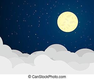 cloudscape, notte, con, luna piena