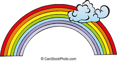 cloudscape, nuages, illustration, vecteur, rainbow., fond