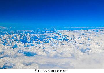 cloudscape, nuvens, acima, vista