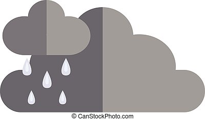 cloudscape, nuvens, illustration., apartamento, dramático, chuva, escuro, vetorial, tempestade, antes de, ícone