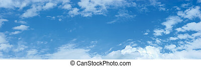 Cloudscape Panorama - Panoramic photo of blue sky and clouds
