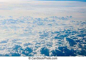 cloudscape, plano de fondo, ., cielo azul, y, blanco, cloud.