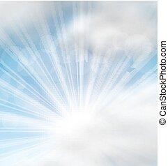 cloudscape, raios, fundo, sol