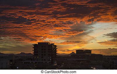 cloudscape, scottsdale, över, skymning