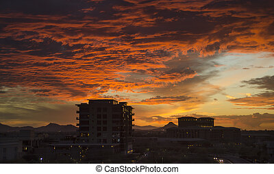 cloudscape, scottsdale, sobre, crepúsculo