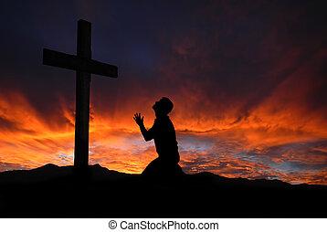 cloudscape, silhouette, croce, do, celeste, pregare, uomo