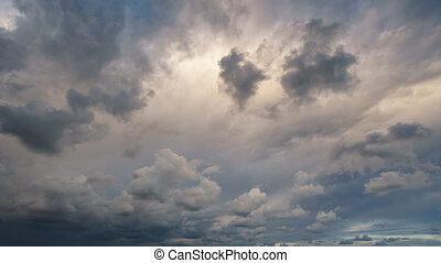 Cloudscape timelapse at dusk with stormy clouds - Wide angle...