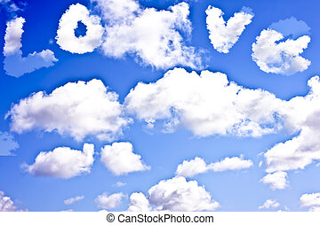 Cloudscape with the word LOVE