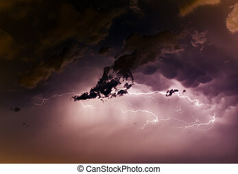 Cloudscape with thunder bolt