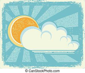 clouds.vector, antigas, sol, textura, papel, vindima, cartão