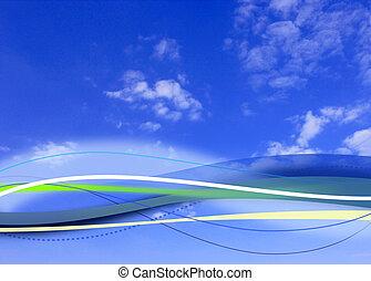 cloudy blue sky background composite