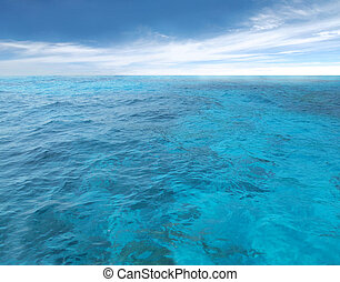 cloudy blue sky leaving for horizon above a blue surface of the