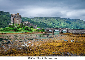 Cloudy day at Eilean Donan Castle in Scotland