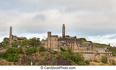 Cloudy day over Carlton hill in Edinburgh - Carlton hill in...