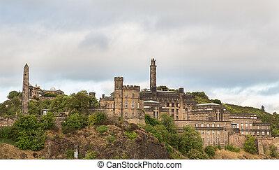 Cloudy day over Carlton hill in Edinburgh - Carlton hill in...