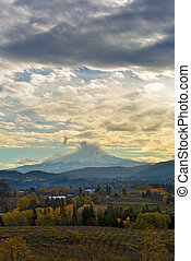 Cloudy Day over Mount Hood at Hood River Oregon