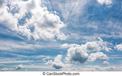 cloudy dynamic formation on a blue summer sky. dramatic...