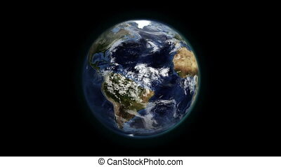 Cloudy Earth in movement with Earth image courtesy of...