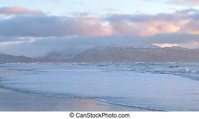 "Cloudy Evening Waves Alaska Beach - ""Incessant surf washes..."