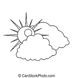 Cloudy icon, outline style.