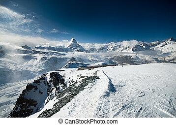 Cloudy Matterhorn. View taken from the Gornergrat near Zermatt