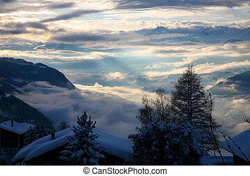 Winter scenics at Crans-Montana in Switzerland