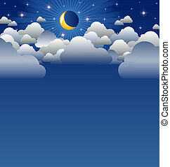 Cloudy moon - Calm moon and clouds scenery with copyspace
