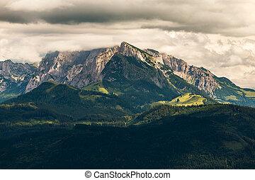Cloudy mountain landscape. Rinnkogel mountain in Austria