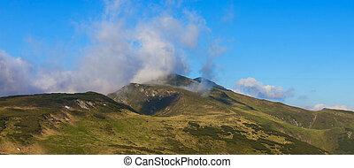 Cloudy mountain landscape view, nature landscape