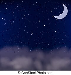 Cloudy night sky as a background, vector