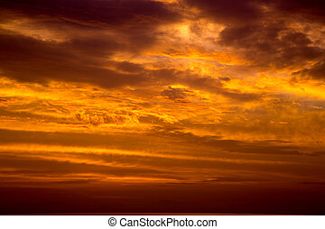 Orange Sky at Sunset - Cloudy Orange Sky at Sunset